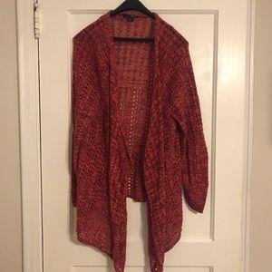 Open Crochet Waterfall Cardigan